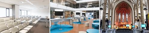 Die CDO Aachen mit Fachtagung, Ausstellerforum und Abendveranstaltung zu aktuellen Informationsmanagement-Themen wird in diesen Räumlichkeiten stattfinden. [Fotos: FIR & digitalHUB Aachen e. V.]